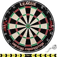 Viper League Regulation Bristle Steel Tip Dartboard Set with Staple-Free Bullseye, Galvanized Metal Thin Radia