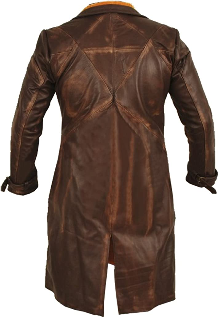 Long Coat Trench Coat Velvet Lining Up to Knee Length Brown Vintage Distressed Look for Sale on