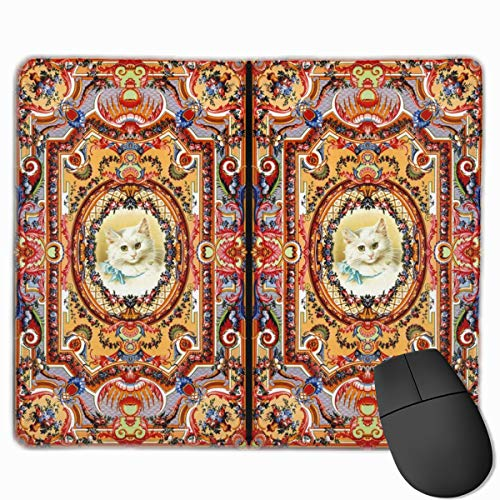 Antique Vintage Cats Kittens Baroque Rococo Floral Flowers Bouquet Horn of Plenty Swags Festoon Garlands Roses Neoclassical Victorian Shabby Chic Mouse pad Mousepad Nonslip Rubber Backing 10