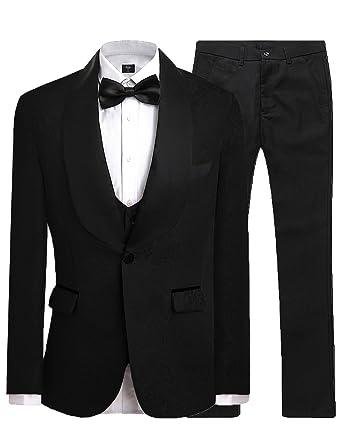 4fb8f2931b7 JYDress Mens Jacquard 3 Piece Suit Slim Fit Tuxedo Blazer Jacket Tux Vest    Trousers Black