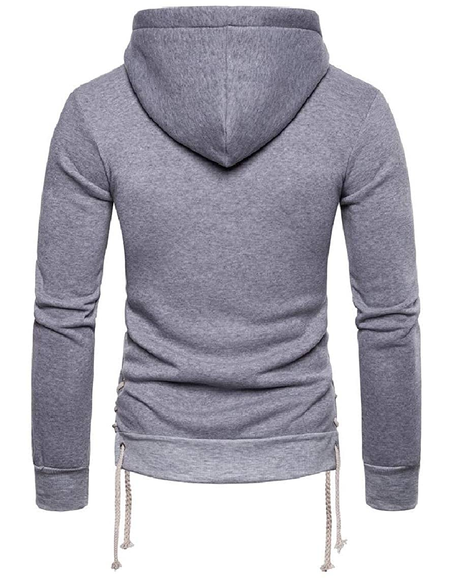 Yayu Men Hoodies Side Lace-up Casual Long Sleeve Pullover Sweatshirt