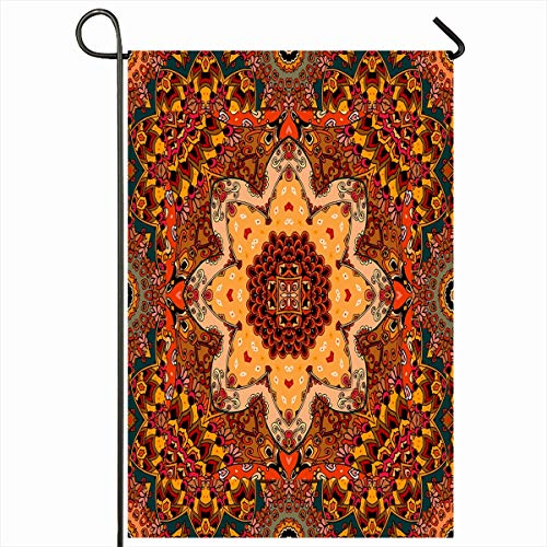 Ahawoso Outdoor Garden Flag 12x18 Inches Ottoman Floral Autumn Yellow Flower Wool Warm Blossom Border Carpet Ceramic Ethnic Palace Home Decor Seasonal Double Sides House Yard Sign Banner