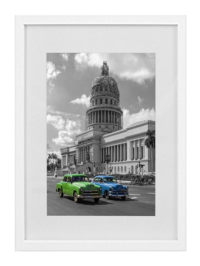 Amazon.de: 28 x 35 cm Bilderrahmen mit Passepartout 20 x 25 cm, Weiß