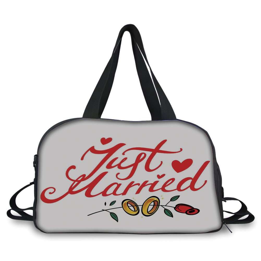 Travel handbag,Wedding Decorations,Just Married Hand Writing in Red and Rose with Wedding Rings,Red Fern Green White ,Personalized