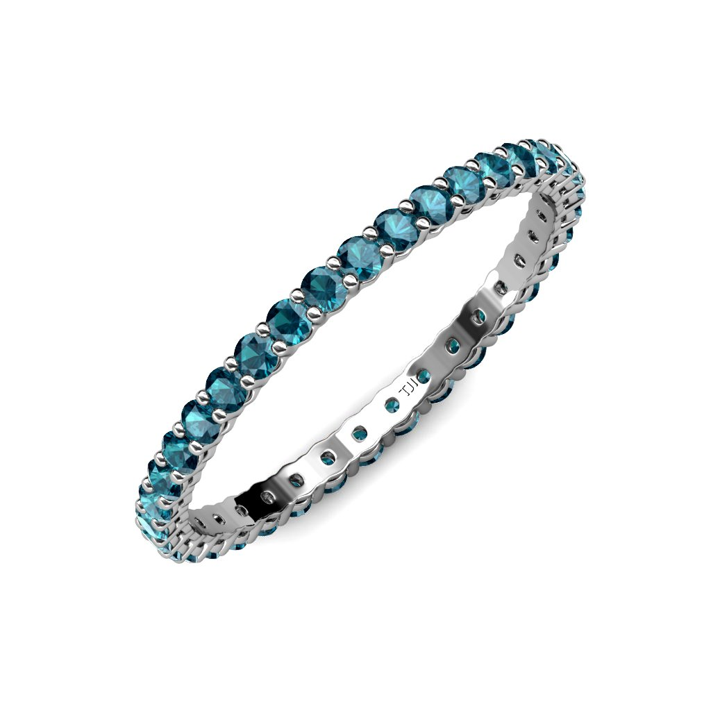 TriJewels London Blue Topaz 2mm Gallery Shared Prong Eternity Band 0.91-1.09 ctw 14K White Gold.size 5.5