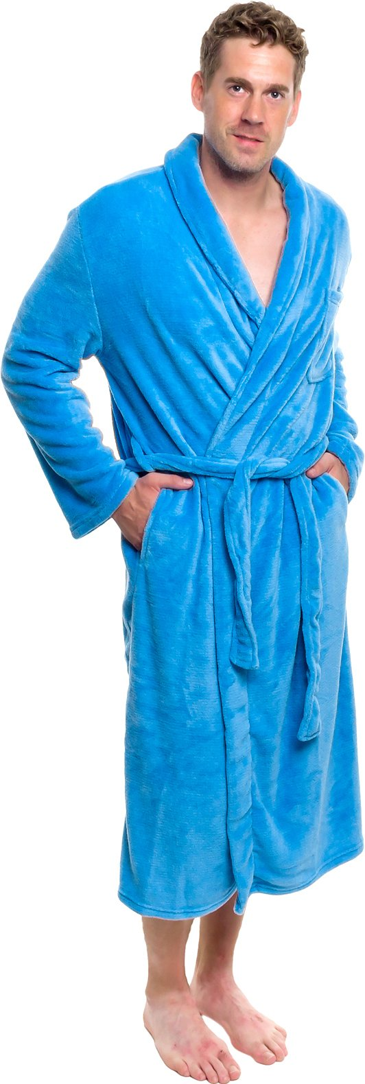 Ross Michaels Mens Plush Shawl Collar Kimono Bathrobe Robe (Light Blue, XXXL)