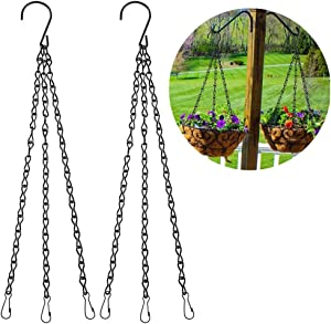 Hanging Basket Chains, 2pcs 20 Inch Black Hanging Chains Flowerpot Hanger Replacement Chain 3 Point Garden Plant Hanger for Bird Feeders, Planters, Lanterns and Ornaments