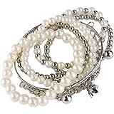 Tinksky Torre multistrato perla bracciali gioielli Vintage moneta perla bracciali (argento)