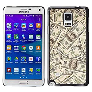 TopCaseStore / la caja del caucho duro de la cubierta de protección de la piel - Money Dollar Wallpaper Wealth Symbol Usa - Samsung Galaxy Note 4 SM-N910