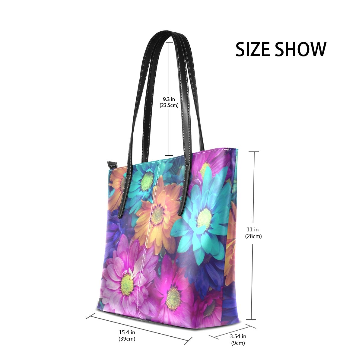 Sunlome Classic Pink Floral Flower Handbags For Women Girls PU Leather Shoulder Tote Bag
