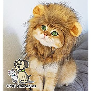 OMG Adorables - Lion Mane Wig for Dog and Cat Costume Pet Adjustable Washable Comfortable Fancy Lion Hair Dog Clothes Dress for Halloween Christmas Easter Festival Party Activity
