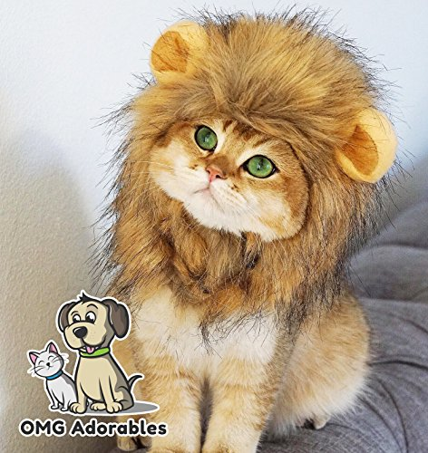 (OMG Adorables Lion Mane Costume for Cat | Soft, Furry Pet Wig with Cute Ears | Fits Adult Felines and Small Dog | Pet Friendly Clothing)