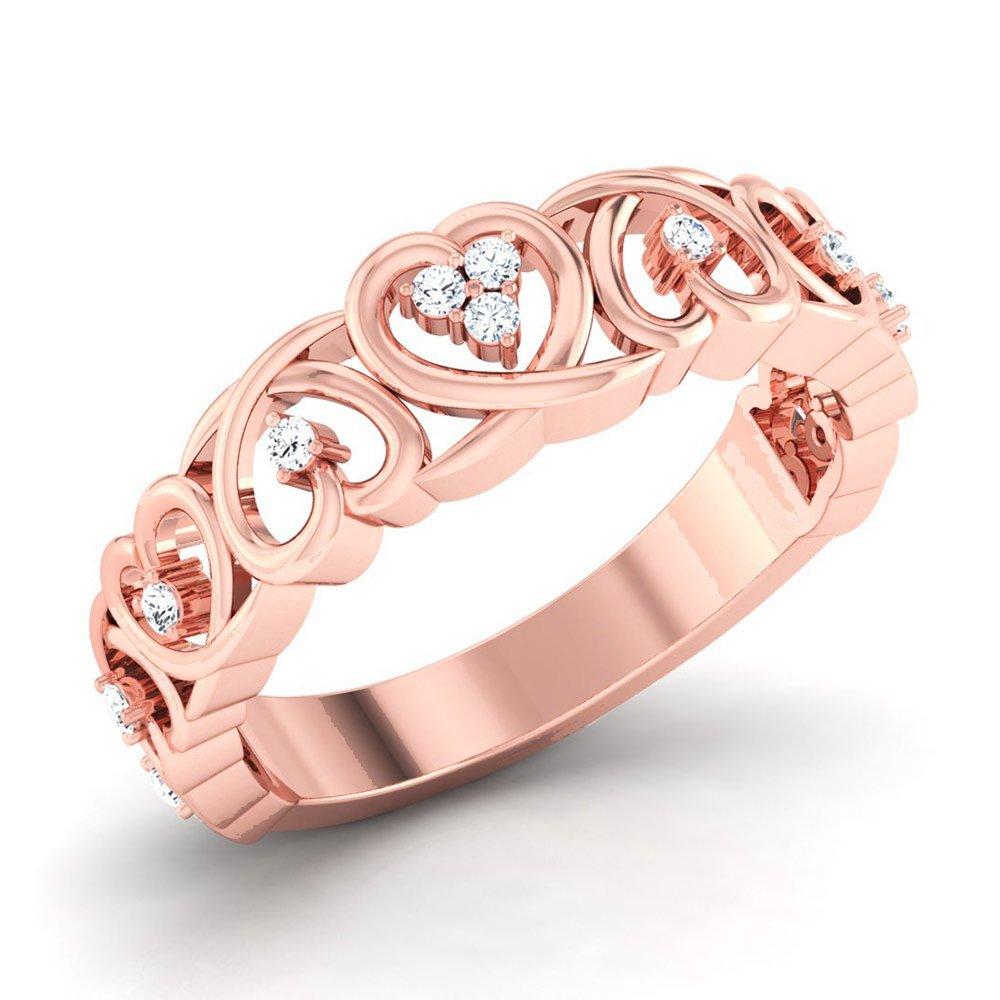 Amazon Com 14k Rose Gold Diamond Scroll Heart Ring For Women 25ctw Handmade