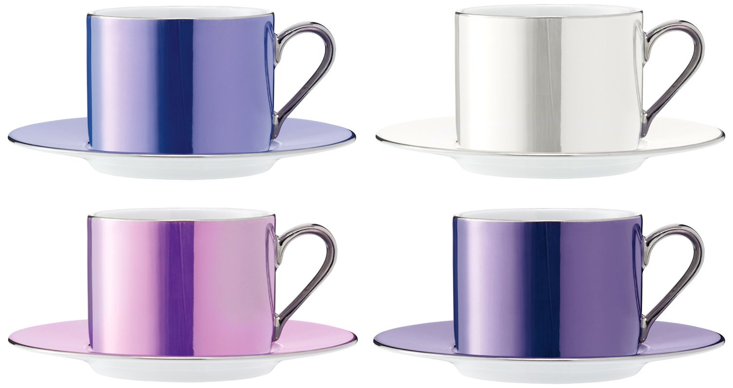 LSA International Pastel Polka Teacup & Saucer (4 Pack), 8.5 fl. oz., Assorted by LSA International