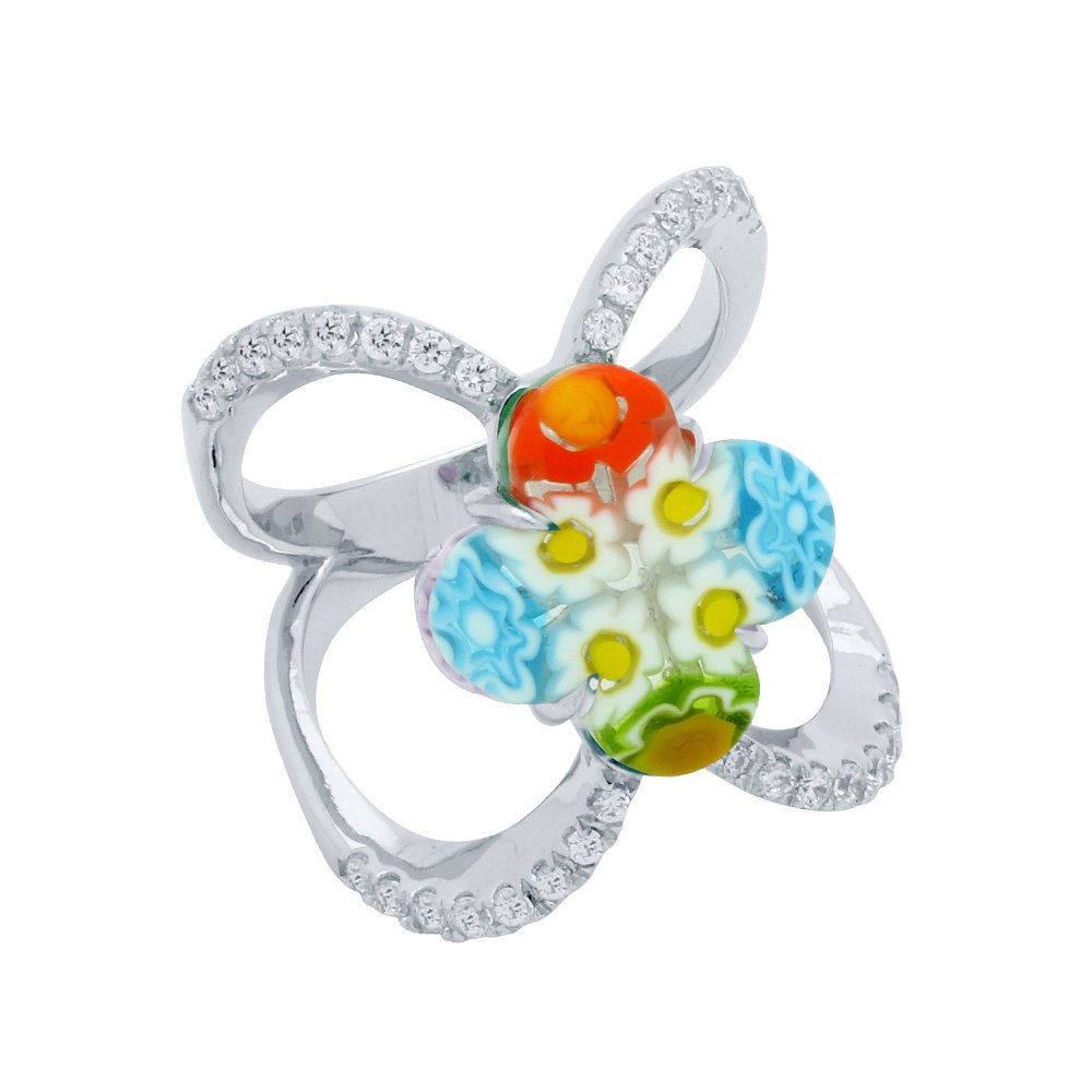 Clover Multicolor Murano Millefiori Glass With Clear CZ Stones Designer Ring Rhodium Plated 925 Sterling Silver Size 8