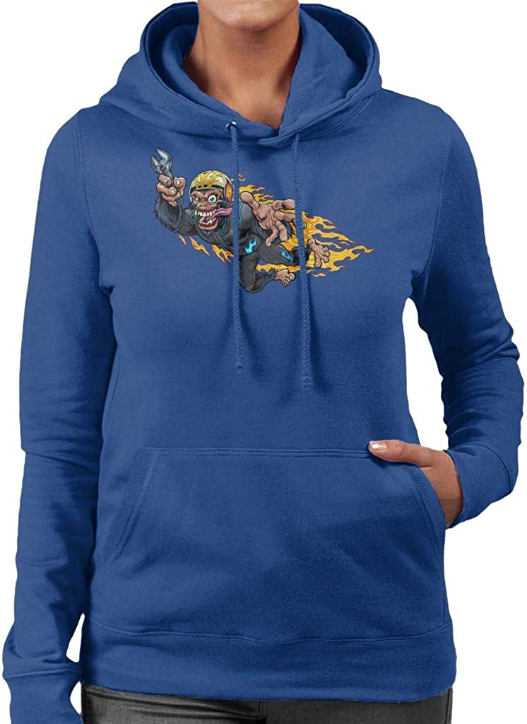 Cloud City 7 Stuntman Monkey Racer Women's Hooded Sweatshirt