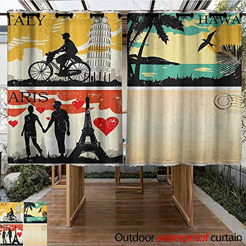 AndyTours Outdoor Curtain Panel for Patio,Retro,Postcards from Italy Hawaii Paris Exotic Places in The World Nostalgic Times Print,Darkening Thermal Insulated Blackout,K160C183 Multicolor