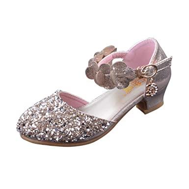 a2be6cb843a5 Image Unavailable. Image not available for. Color  YIBLBOX Glitter Kids Girls  Mary Jane Shoes Low Heel Bridesmaids Flower Girl Party ...