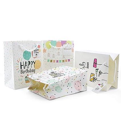 VEESUN Bolsas de Regalo Cumpleaños, 8Pcs Bolsas de Papel Kraft Multicolor Rectángulo Papel de Regalo con Asas para Niños Nacimiento del Bebé ...