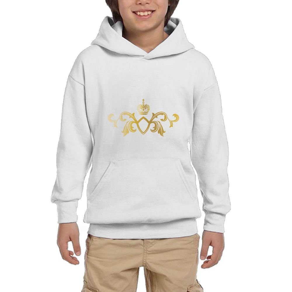Quliuwuda Girl Golden Crown Pattern Classic Jogging White Fleeces