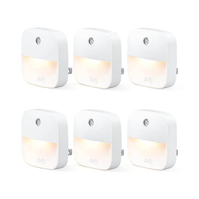eufy Lumi Plug-in Night Light, Warm White LED Nightlight, Dusk-to-Dawn Sensor, Bedroom, Bathroom, Kitchen, Hallway, Stairs, Energy Efficient, Compact (6 Pack)