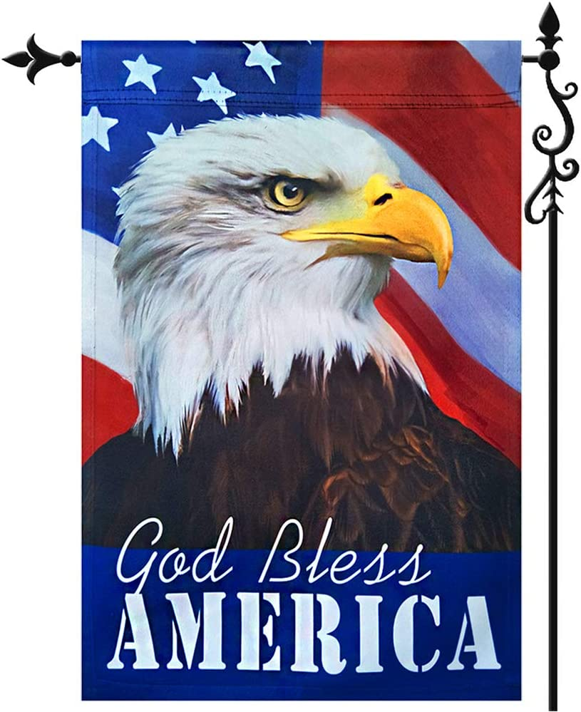 God Bless America Patriotic Garden Flag- Vertical Double Sided American Eagle 4th of July Independence Day Yard Flags Banner Outdoor Wall Decorative 12.5 x 18 Inch