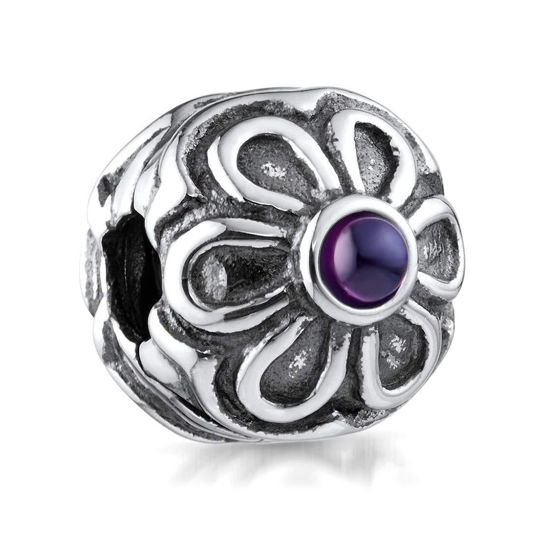 MATERIA 925 Silber Beads Anhänger Zirkonia Kugel lila weiß für Beads Armband