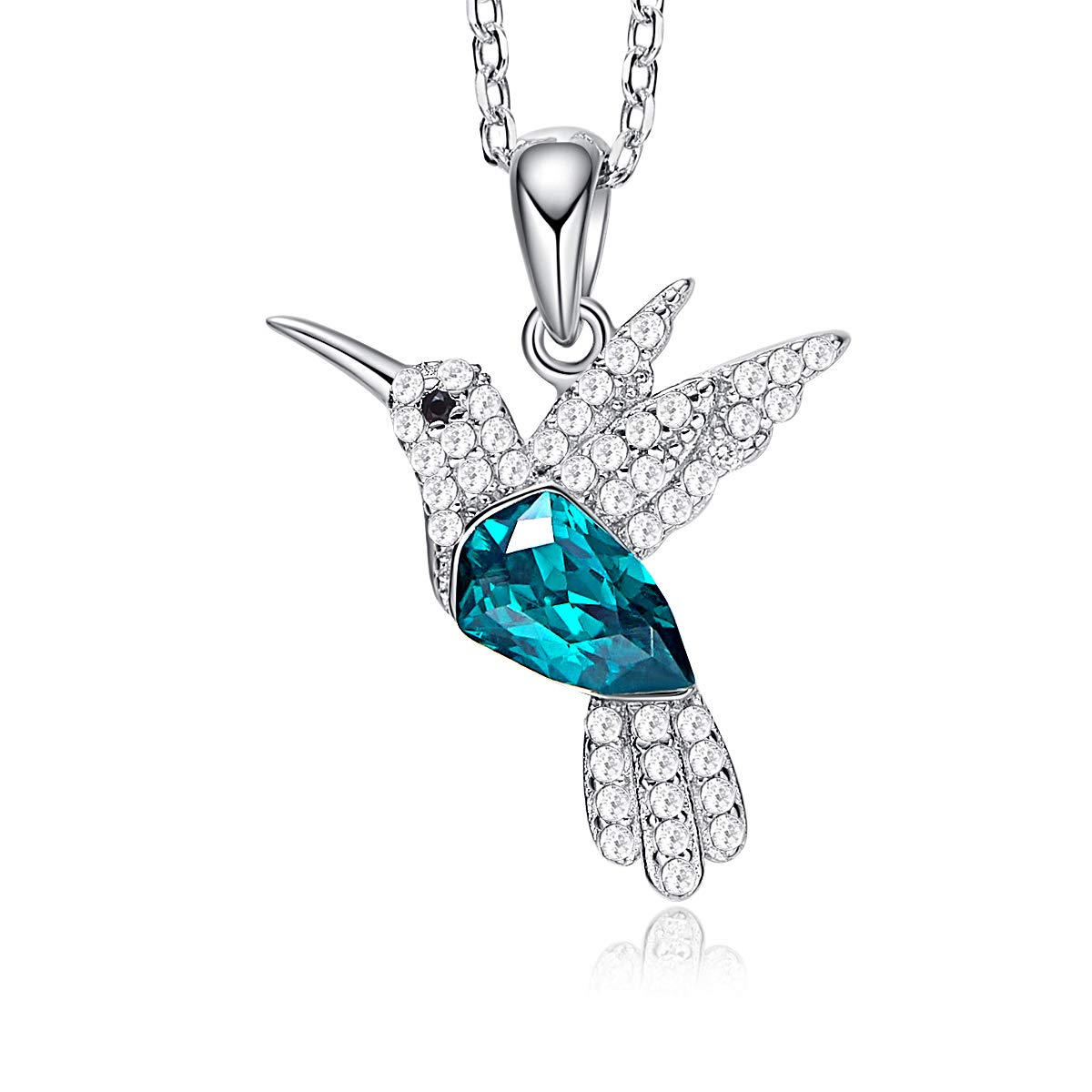 CDE S925 Sterling Silver Necklace Woman Swarovski Crystals Pendant Necklaces Hummingbird Fine Jewelry Gift for Her by CDE (Image #2)