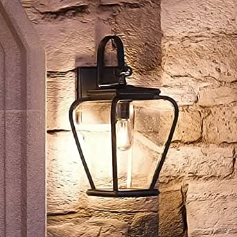 """Luxury French Country Outdoor Wall Light, Medium Size: 15.5""""H x 6.5""""W, with Mediterranean Style Elements, Soft and Simple Design, Inky Black Silk Finish and Seeded Glass, UQL1200 by Urban Ambiance"""