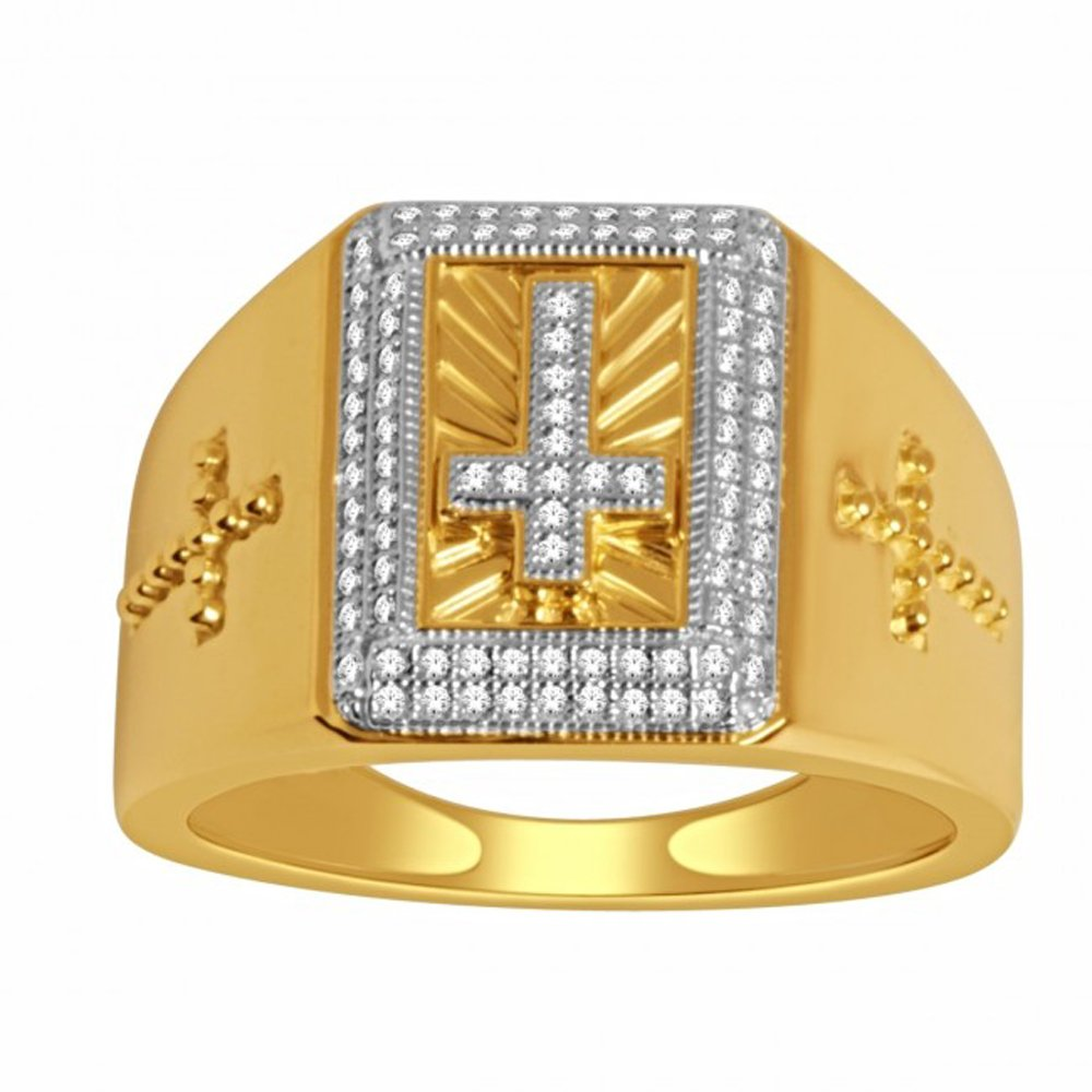 Silvernshine Jewels 14K Yellow Gold Fn Cross Ring 16mm Wide 0.25 Ct D/VVS1 Diamonds Men's Ring