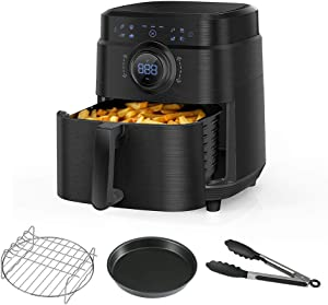 Air Fryer Electric Hot Air Fryers Oven Non-Oil 360 Fast Cooker 8 Presets Temperature Time Knob Switcher Design Bake Non-Stick Basket Toast Bake Dehydrate Broil Cook Booklet 1700W (7QT, Black)