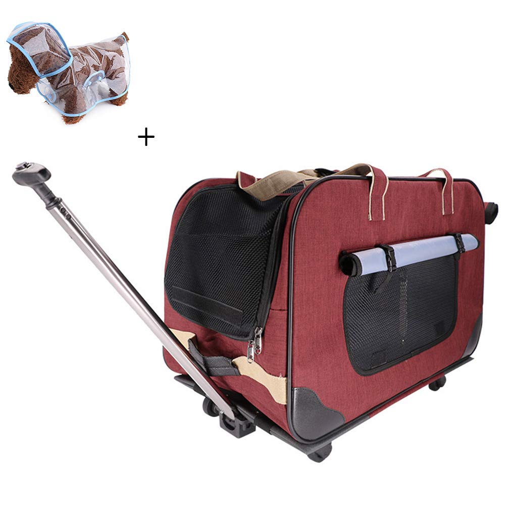 Red Pet Trolley Bag Rolling Pet Travel Carrier Pet Carrier with Wheels Suitable for Small and Medium Sized Pets+(Free Raincoat),Red
