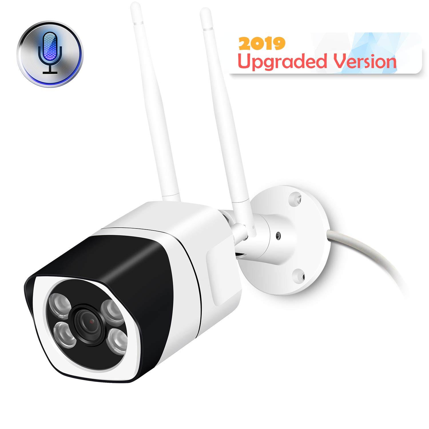 Outdoor WiFi Security Camera, 1080P Wireless IP Camera Two Way Audio Motion Detection Remote Viewing FTP Onvif Night Vision IP66 Waterproof Bullet Surveillance Cam Support Max 128G SD Card(NO Card)