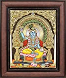 Chakradhari Shri Krishna (Framed) - Tanjore Painting - Traditional Colors with 24 Karat Gold