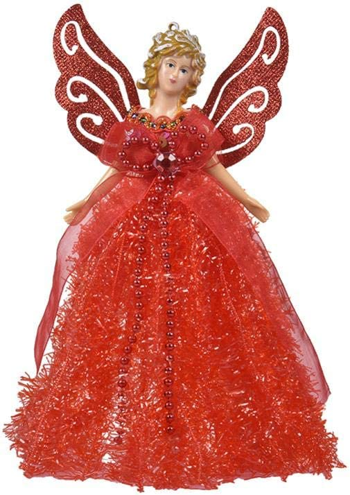 Christmas Tree Topper Fairy Angel with Cute Wing 5 Colors Pleasay Christmas Tree Pendant Doll Christmas Doll Hanging Angel Tree Top Angel for Christmas Decorations Christmas Tree Ornament