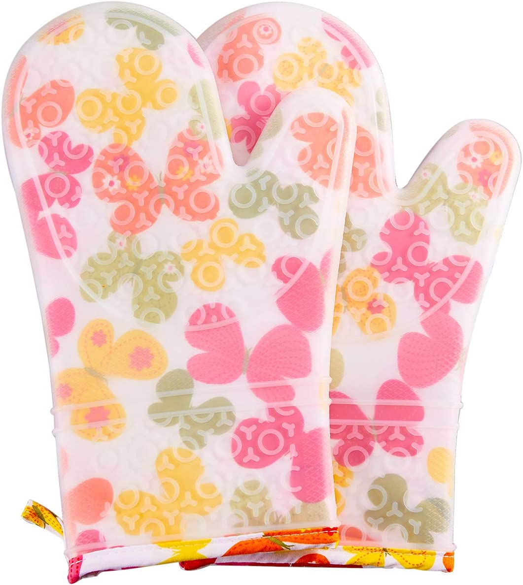 FAVIA Silicone Oven Mitts Heat Resistant Flexible Cooking Gloves for Grill BBQ Kitchen Microwave Non-Slip and Waterproof BPA Free 1 Pair (Medium, White Base with Butterfly)