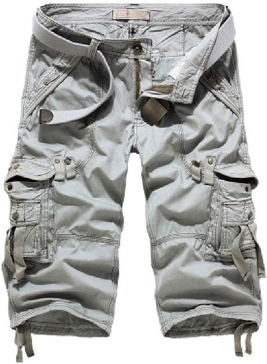 Candiyer メンズカジュアルプラスサイズポケット サマーハーフパンツカーゴショートパンツ