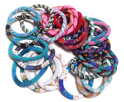 Wholesale - Random Mix of Nepal Glass Beaded Bracelets (Set of 6)