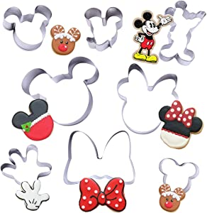 8 Pack Cookie Cutters Themed of Mickey Minnie Mouse, Stainless Steel Sandwich Cake Cutter Set Baking Molds