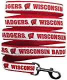 Pets First Collegiate Pet Accessories, Dog Leash, Wisconsin Badgers, Large