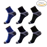 TaoLeLe Running Socks, [6 Pairs] Sports Socks Pure Natural Cotton Professional Half Cushioned Athletic Socks for Men - Super Soft and Comfortable for Running and Outdoors