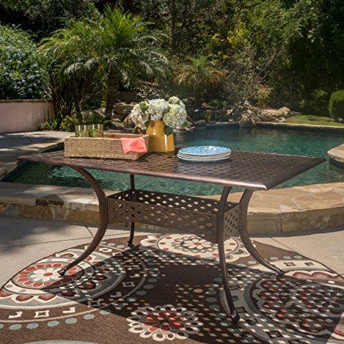 GDF Studio Vista Shiny Copper Cast Aluminum Rectangle Dining Table