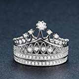 UMODE 925 Silver Tiara Princess Crown Ring Set Accented Tiny Cubic Zirconia CZ Stone