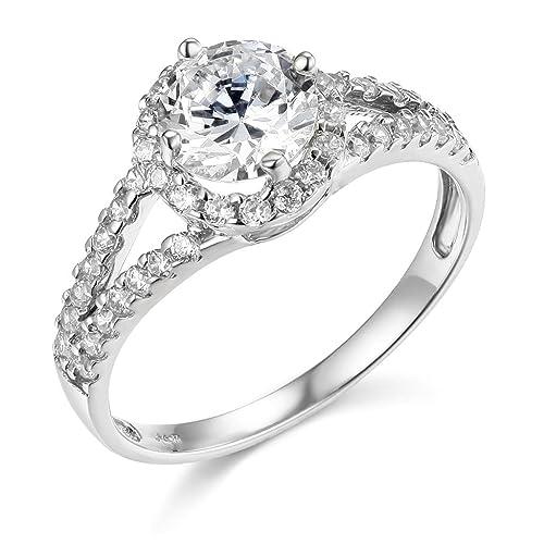 Plata de Ley 925 Chapado en rodio de boda anillo de compromiso