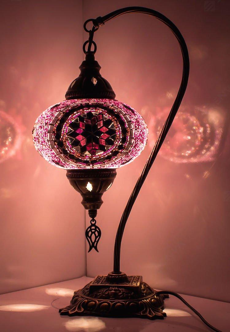 新しい* BOSPHORUS StunningハンドメイドスワンネックトルコMoroccanモザイクガラステーブルデスクベッドサイドランプライトwithブロンズベース(レッド) B017F4A1FC