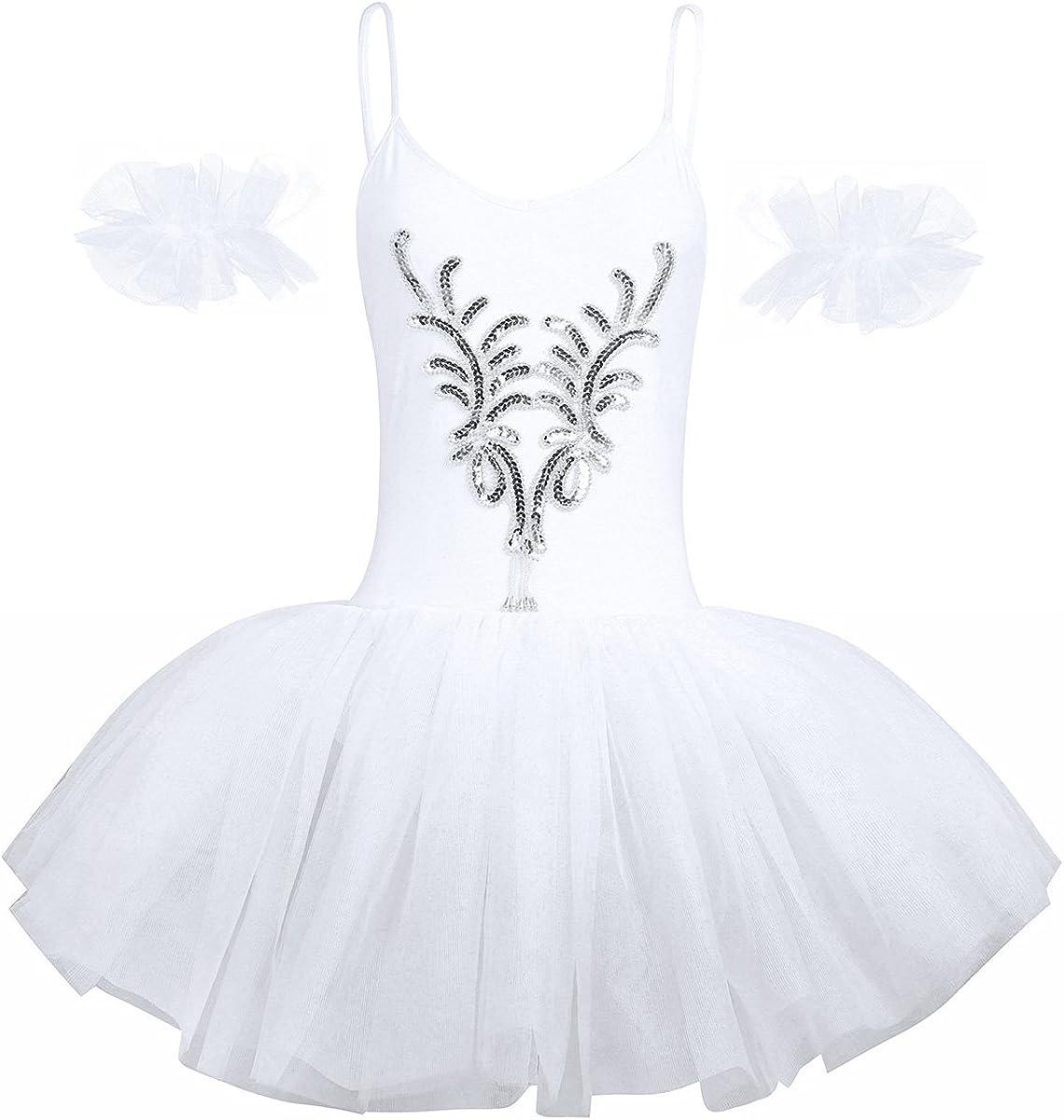 TiaoBug Robe de Danse Femme Justaucorps de Danse Tutu Ballet Classique Blanc Robe /à Paillettes et Bracelets Body Combinaison sans Manches Costume de Danse XS-XL