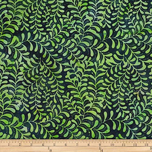 (Batik by Mirah Green Glow Leafy Vines Pino Green  Fabric by the Yard)