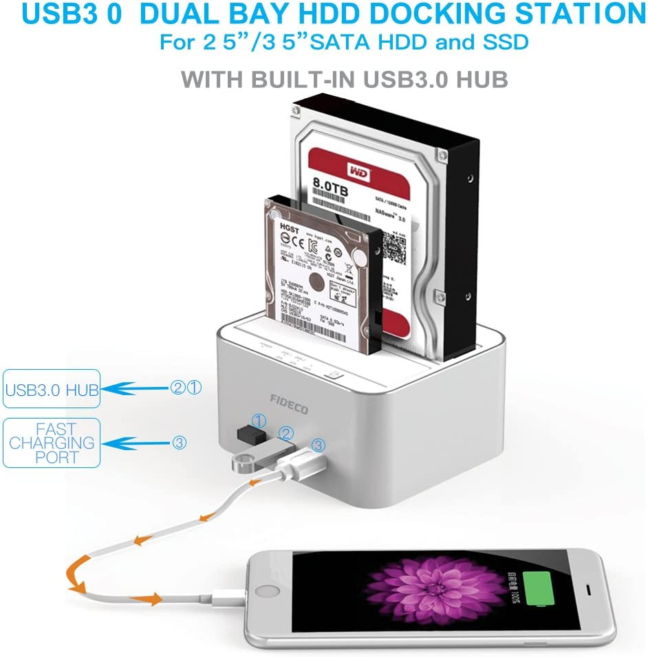 FIDECO Base de Conexión Docking Station, Aluminio USB 3.0 Base de ...