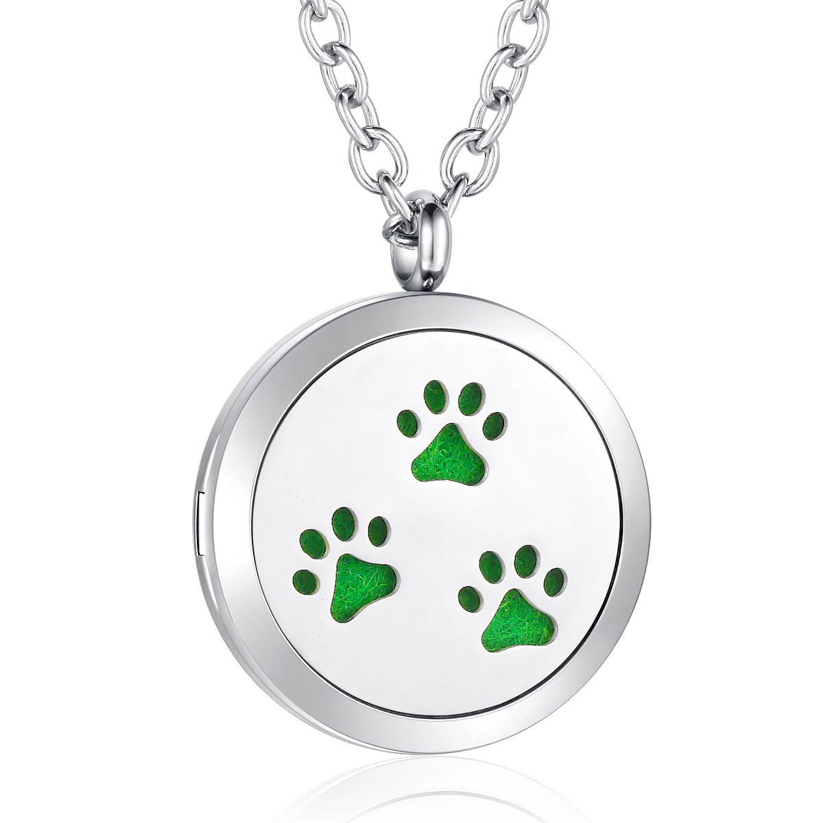 AZORA Dog Paw Essential Oil Diffuser Necklace Stainless Steel Locket Pendant Scent Aromatherapy Jewelry Boys Girls Women