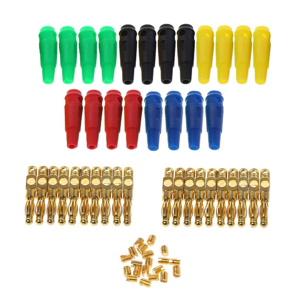 YoungerY 20 Piezas 5 Color Plateado Cobre 4 mm Linterna Conector de Banana Terminal Amplificador de Altavoz